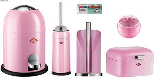 Wesco 5er Bad-Set pink mit 40 Müllbeutel, Single Master Mülleimer + Toilettenbürste + Rollenhalter + Mini Grandy + Mini Ball