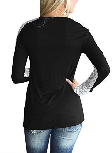 Happy Sailed Shirt Dentelle Patchwork Col Blouse avec Dentelle Top et Blouses Manches Longues Chemisier Dentelle Pour Automne Printemps Eté Noir