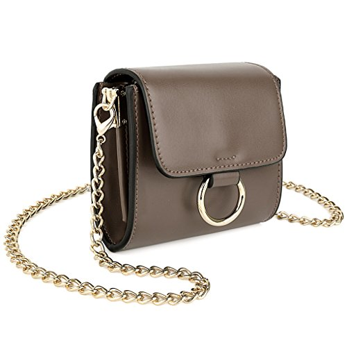 UTO weich PU Leder Mini Crossbody Bag mit Kette Riemen Makeup Card Geld Holder Purse grau
