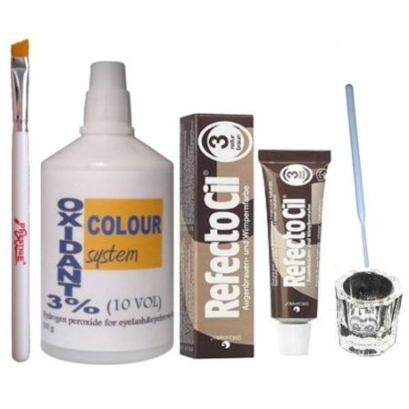Refectocil ciglia Sopracciglia tinta Dye Kit Natural Brown No.3 + pennello piatto per sviluppatori