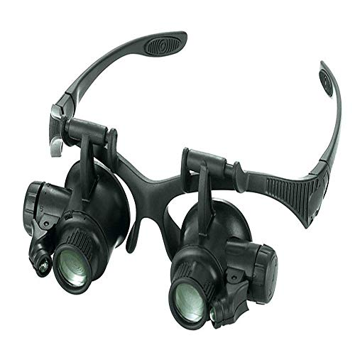 Jackson Wang Magnifier 10X 15X 20X 25X Lupe Kopfhörer beleuchtende Lupe Fernglas Vergrößerungslinsen-Kit mit LED-Leuchten Uhrmacher Juwelier - Vier Sätze Objektivwechsel