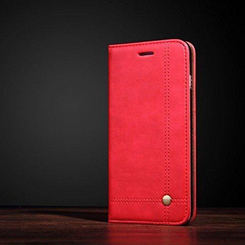 Schutzhülle für Huawei P10 & P 10 Plus, Kreuznietlinie, Leder Stoßfester und stoßfester Qualitäts-Ständer mit Magnetverschluss, Kartenfächer. Genäht mit Zwei doppelten Linien, mit Nieten am Kreuz. - Genähte Linie