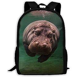 Sac à dos scolaire plongée hippopotame impression voyage sac à dos ordinateur portable léger Casual adulte partout sac d'impression pour garçons filles et femmes