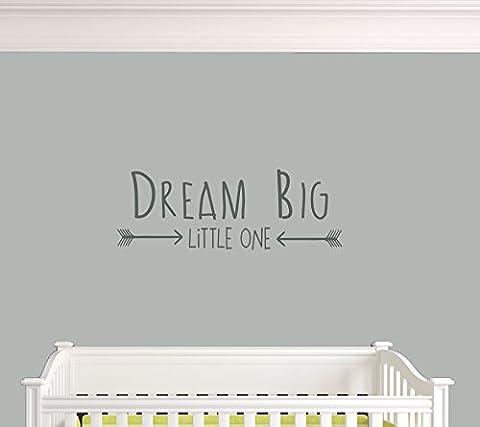 Dream Big Little One. Nursery Playroom Living Area Premium Vinyl Wall Decal Sticker (f. Dark Grey)
