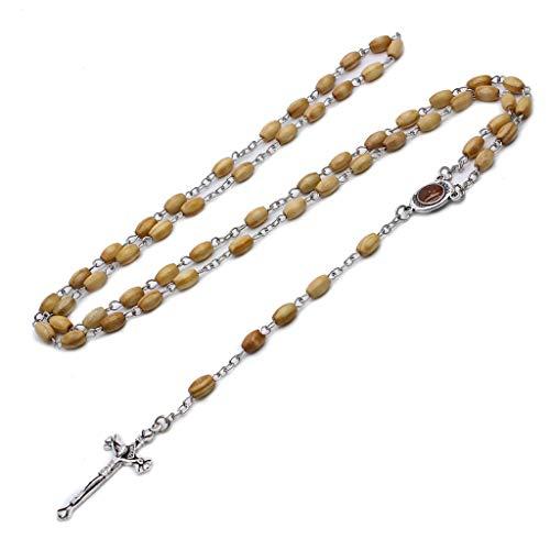 huyiko Runde Perlen katholischer Rosenkranz Kreuz Religiöse Holzperlen Halskette Geschenk