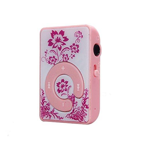SamMoSon Mini Clip Flower Pattern Lettore MP3 Supporto per supporti musicali Micro SD TF Card - Carta chiave C blu e bianca in porcellana MP3 | Supporto fino a 32 GB Micor SD Nota inclusa Rosa