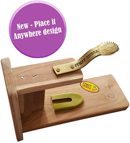 MDT India Table Top Teak Wooden Coconut Scraper Grater Shredder Movable Chirava Place Anywhere