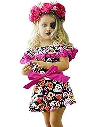 K-youth Vestido de Niña Ropa Bebé Niñas Sin Mangas Halloween Ofertas Calavera Impresión Vestidos Bebé Niñas Eslinga con Volantes Vestidos de Fiesta