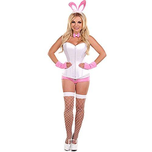 Frauen Sexy Weiß Korsett Bunny Mädchen Outfit Bunny Kostüm Dienstmädchen Uniform Rosa Hasenohren Und Schwanz Cosplay Bodys Performance Kostüm,L (Frauen Bunny Kostüme)