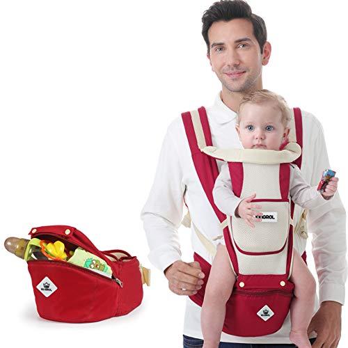Jonly Portabebés 3 in1 con Asiento de Cadera, portabebés ergonómico Ajustable y Transpirable Portabebés portabebés Delantero a 15 kg - 0 a 4 años,White