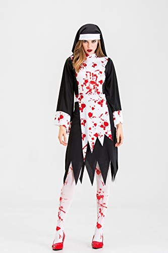 SJWSJW Halloween Schwarz Vampir Beerdigung Kostüm Nonnen Priester Zombie Charakteren Einheitliche Cosplay Bühne Kostüm XL schwarz (Schwarze Witwe Beerdigung Kostüm)