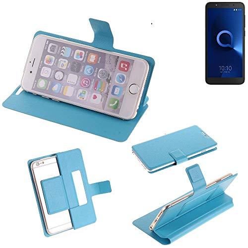 K-S-Trade Flipcover für Alcatel 1C Single SIM Schutz Hülle Schutzhülle Flip Cover Handy case Smartphone Handyhülle blau