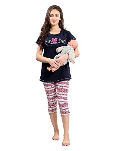 59f8773472 AV2 Women Maternity Wear  Feedind   Nursing Top   Capri Set
