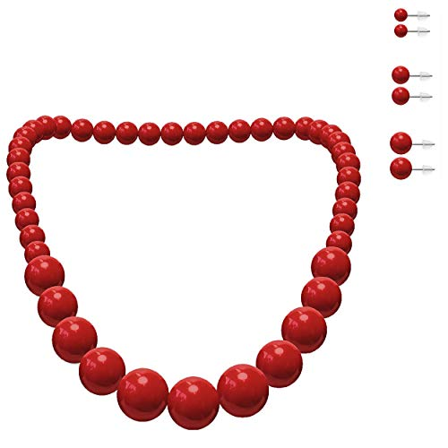 Soul-Cats® Damen Perlenkette + 3 Paar Ohrstecker in rot