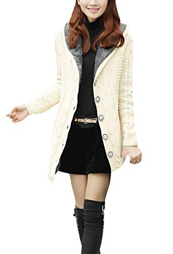 Donna Cardigan Giacca Con Cappuccio Inverno Autunno Lungo Elegante Giacche Manica Lunga Foderato Warm Bottoni Maglie Giubbotto Vintage Cable Knit Caldo Moda Maglieria Bianco