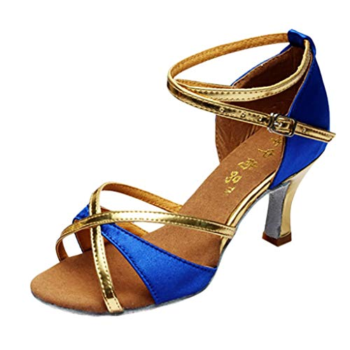 WWricotta Girl Latin Dance Shoes Med-Heels Satin Shoes Party Tango Salsa Dance Shoes -