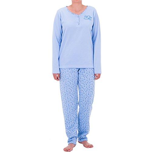 Lucky Thermo Pyjama mit Blumen Druck, Größe:M;Farbe:Blau