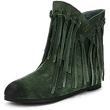 HOESCZS Nuevo Más Tamaño 34-43 Cuero de Gamuza Slip On Mujer Botas Zapatos Mujer
