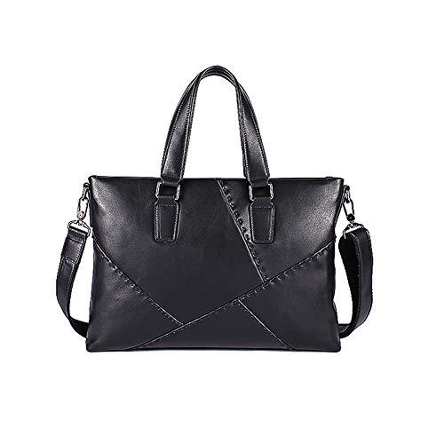 Herren Echtleder Messenger mit Schultergurt Aktentaschen Business Laptop Schulter Handtaschen Fit in16.5 Zoll groß,Black - Zwickel-aktentasche Aus Leder