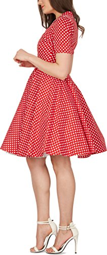 BlackButterfly 'Sabrina' Vintage Polka-Dots Kleid im 50er-J-Stil (Rot, EUR 44 – XL) - 2