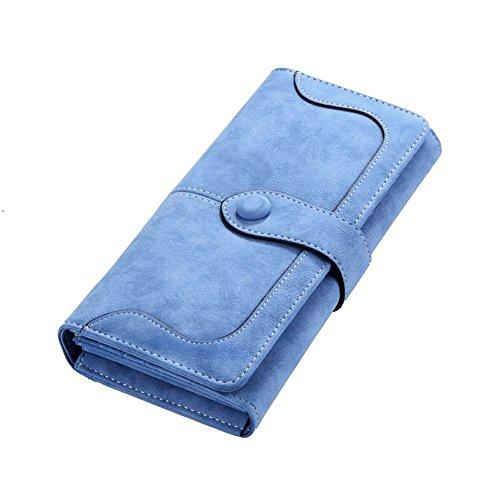 Minetom Damen Leder Geldbeutel Portemonnaie mit Reißverschluss Lange Kartenhalter Geldbörse Lady Clutch Handtasche ( Hellblau )
