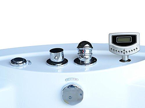 Whirlpool Badewanne Florenz mit 14 Massage Düsen + Heizung + Ozon Desinfektion + Beleuchtung / Licht + Wasserfall + Radio - Eckwanne Sprudelbad Jakuzzi indoor / innen günstig - 3