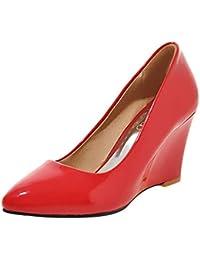 9231c58b8ccd KIKIVA Escarpins Femme Talon Haut Compensé Bout Pointu Cuir Vernis  Printemps Fashion Chaussures