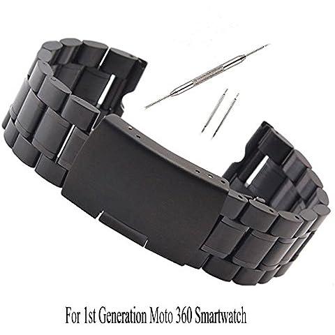 kuxiu® 22mm Nero Cinturino in Acciaio Inox Catena Regolabile Braccialetto per Motorola Moto 3601st Gen - Catena Collegamento Pin