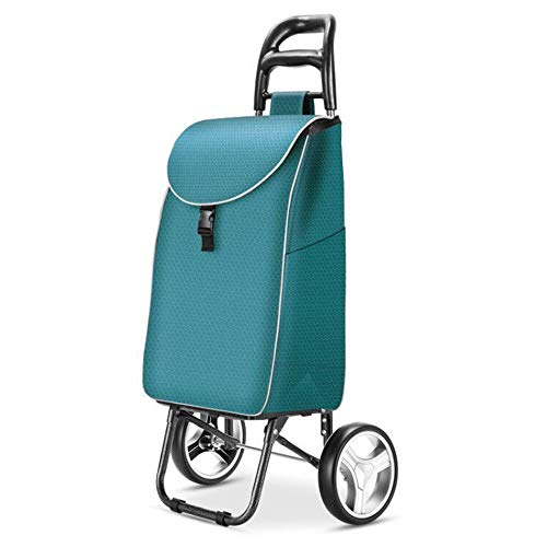 Tragbarer Einkaufswagen des Haushalts Faltbarer kaufender Nahrungsmittellaufkatze-Trolley-Anhänger Zweirad Kleiner Wagen 97 × 23 × 25cm GW (Farbe : Cyan)