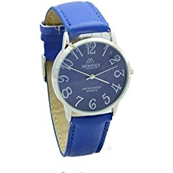 Mondex / Azaza / MABZ Ladies Silver Plated PU Leather Strap Watch (Blue Strap With Blue Dial)