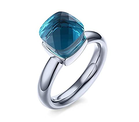 Vnox Stainless Steel Blue Gemstone Wedding Engagement Band Ring Italy Noble Jewelry Silver for Women,UK Size N 1/2