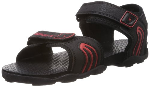 Sparx Men's Black and Red Sandals and Floaters - 8 UK