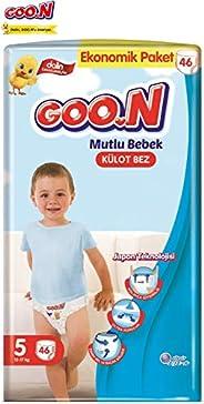 Goon Mutlu Bebek Külot Bez, 5 Beden, Ekonomik Paket, 46 Adet, Beyaz