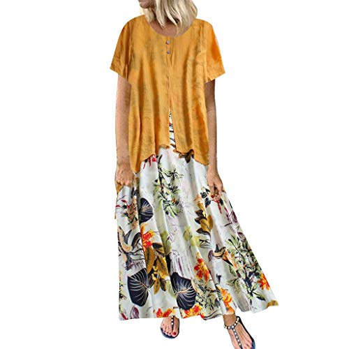 Yvelands Damen langes Kleid Sommer gestreiften O-Ausschnitt Kurzarm Plus Size Casual Dress(Yellow2,XXXXL)