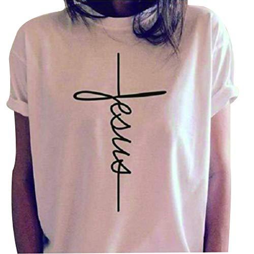 fpengfashion Frauen-beiläufiger Jesus christlicher Glaube Druckbuchstabe-Kurze Hülsen-T-Shirts -