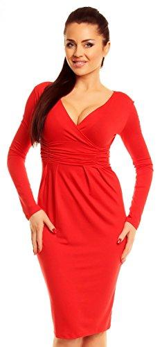 Zeta Ville - Robe crayon - Décolleté cache-coeur - Robe au genou - Femme - 285z Rouge