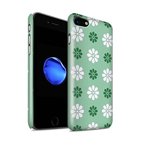 STUFF4 Glanz Snap-On Hülle / Case für Apple iPhone 8 / Grün Muster / Muster mit Blütenblättern Kollektion Grün