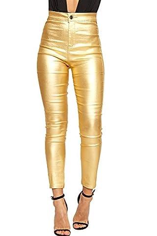 Pantalon Femme Dore - WEARALL - Femmes Élevé Waisted Pantalon Pantalon