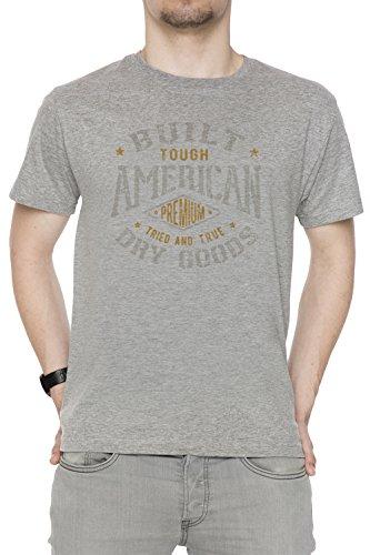 Built American Dry Goods Uomo T-shirt Grigio Cotone Girocollo Maniche Corte Grey Men's T-shirt