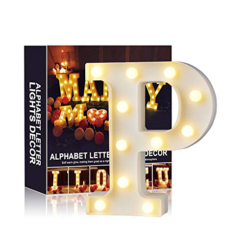 (A-Z Alphabet Light White LED Night Lamps Plastic Letter Standing Hanging Lighting for Wedding Party Bedroom Xmas Decoration (P))