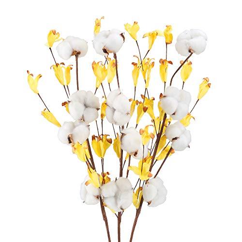 Huaesin 3pz fiori secchi cotone con foglie gialle fiori artificiali da interno finti fiori essiccati per decorazioni casa ufficio balcone vaso fai da te interno esterno