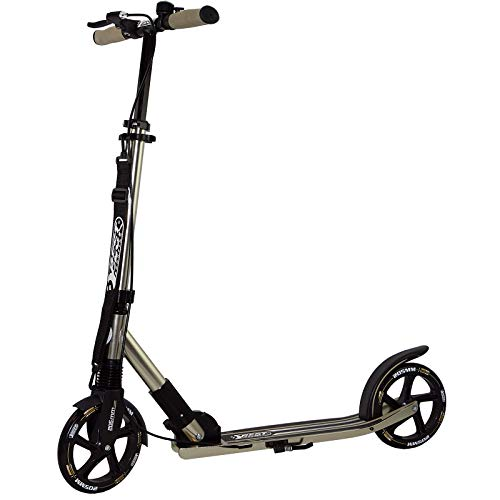 Best Sporting Scooter 205er Rolle High Class, klappbarer City-Roller mit Tragegurt, ergonomischem Lenker, Handbremse und Klingel, Tret-Roller in schwarz-Gold