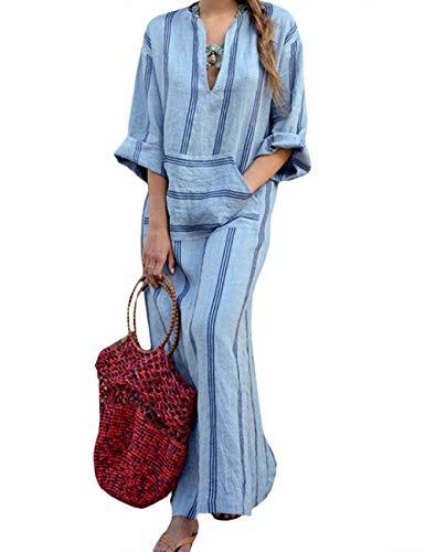 HAHAEMMA Damen Kleider Maxikleid Lose Kleid Langarm Retro Leinen Baumwolle Lange Kleider Elegante Bluse Breite Beiläufige Sommerkleider Damen Plus Größe(BE,M)
