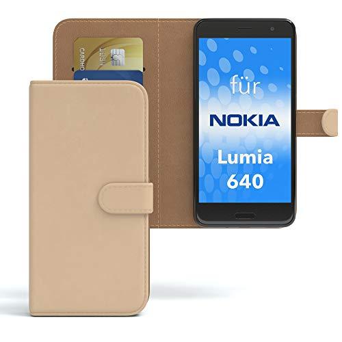 EAZY CASE Hülle für Nokia Lumia 640 Dual SIM Bookstyle mit Standfunktion, Book-Style Case aufklappbar, Schutzhülle, Flipcase, Flipstyle, Flipcover mit 2 Kartenfächern aus Kunstleder, Hellbraun