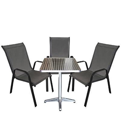 4tlg. Bistrogarnitur Balkonmöbel - Set Sitzgruppe Aluminium Bistrotisch 60x60cm + 3x Stapelstuhl Textilenbespannung Terrassenmöbel Gartenmöbel Gartengarnitur Sitzgruppe Sitzgarnitur