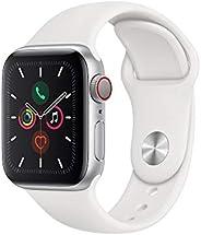 Apple Watch Series 5 (GPS+Cellular, 40 mm) Cassa in Alluminio, Argento e Cinturino Sport - Bianco