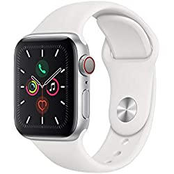 Apple Watch Series 5 (GPS+Cellular, 40 mm) Aluminio en Plata - Correa Deportiva Blanco