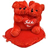 "JBTLT Enterprises Soft Toy Cute ""Couple ""Teddy Bear On Heart Pillow Someone Special Lovely Colour For Birthday Gift/Valentine Day Gift/for Kids Birthday/ (22cm) (Red)"