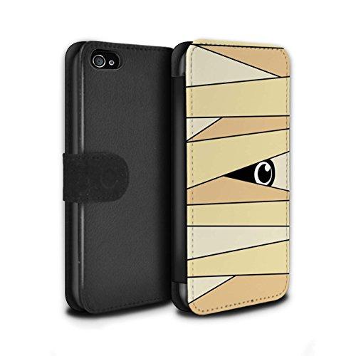 Stuff4® PU-Leder Hülle/Case/Tasche/Cover für Apple iPhone 4/4S / Mumie Muster/Halloween Zeichen Kollektion