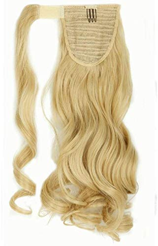 43cm extension coda capelli clip finti mossi ponytail extension coda di cavallo parrucchino wrap around - biondo dorato mix biondo chiarissimo